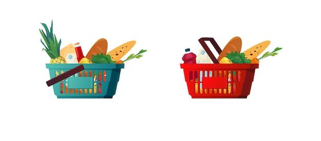 Cestino di plastica della spesa con generi alimentari.