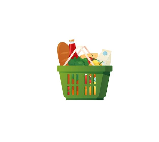 Cestino della spesa in plastica con generi alimentari