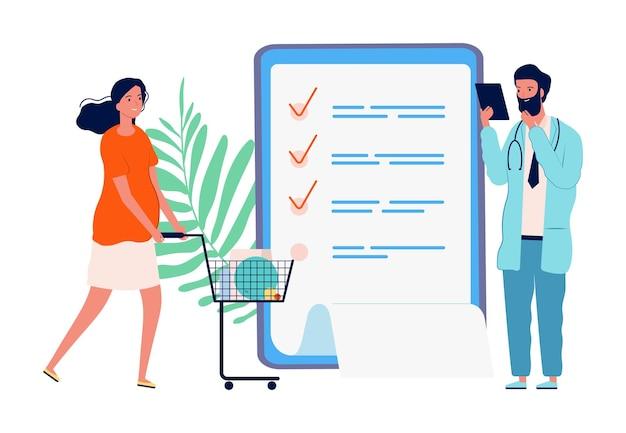 Shopping per le donne incinte. lista di controllo, lista della spesa per l'ospedale di maternità.