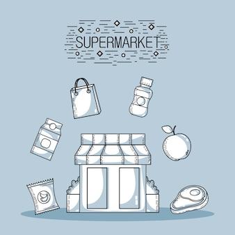 I prodotti di acquisto nel supermercato con l'alimento di varietà vector l'illustrazione