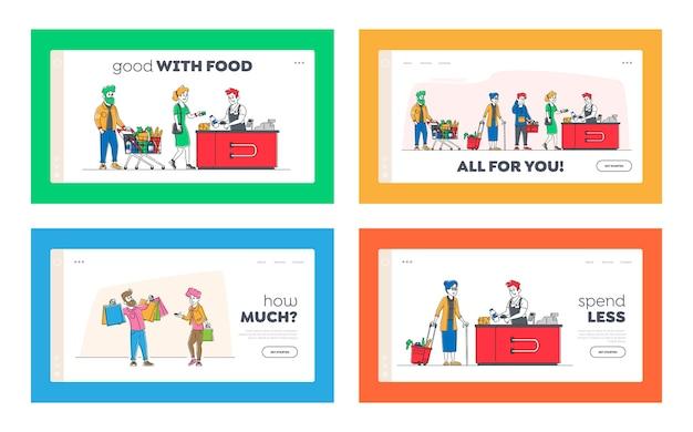Coda della spesa nel set di modelli di pagina di destinazione del supermercato.