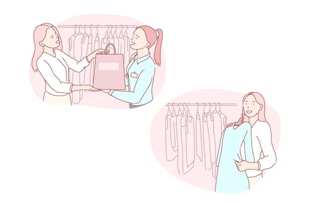Shopping, vendita al dettaglio, consumatore, moda, illustrazione di servizio