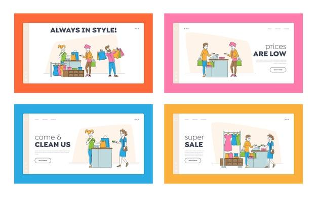 Shopping, vendita e sconto set di pagine di destinazione del sito web