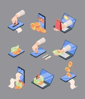 Illustrazione isometrica online di acquisto e vendita