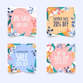 Set di post sui social media per le vendite di shopping