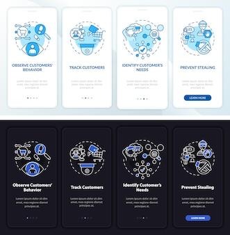 Set di schermate della pagina dell'app mobile per l'onboarding della sicurezza dello shopping