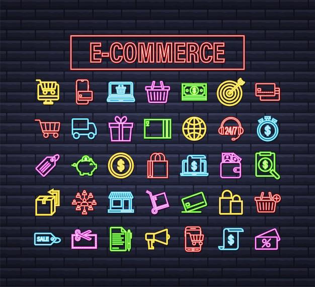 Shopping set icona al neon per il web design. commercio elettronico. buono sconto. icona di affari. cartellino del prezzo. vettore di linea. illustrazione di riserva di vettore.