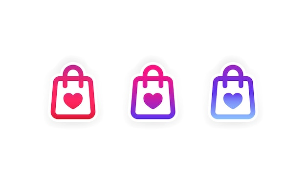 Adesivo per lo shopping. supporta il set di icone dei social media di piccole imprese locali. vettore su sfondo bianco isolato. env 10.