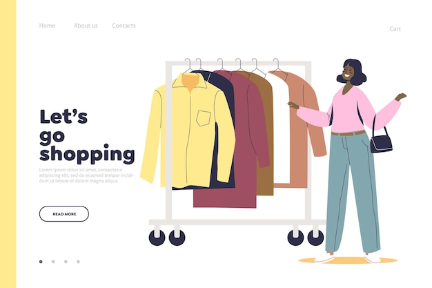 Shopping nella pagina di destinazione del negozio con la donna che sceglie i vestiti sulla gruccia.