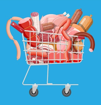 Carrello del supermercato della spesa pieno di carne