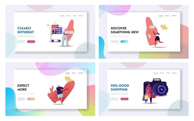 Set di modelli di pagina di destinazione del tour dello shopping