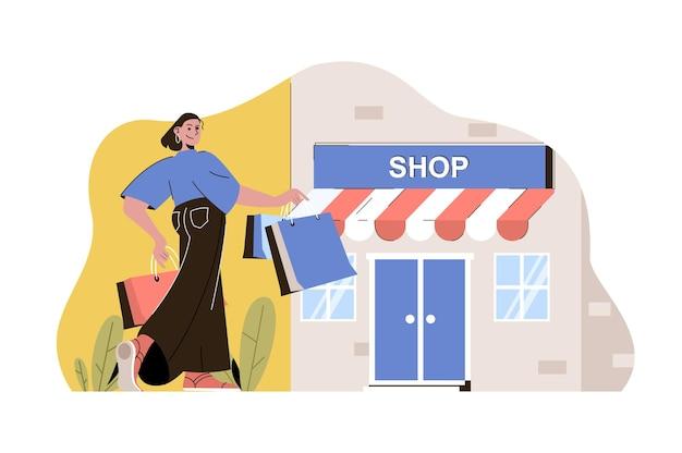 Concetto di viaggio di shopping donna che fa shopping nelle boutique in vacanza