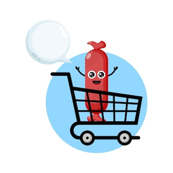 Logo del personaggio mascotte della salsiccia del carrello della spesa