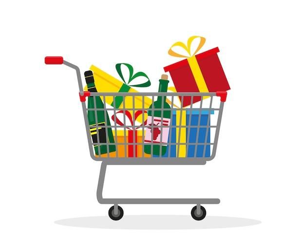 Carrello della spesa con scatole, regali e vite per le vacanze