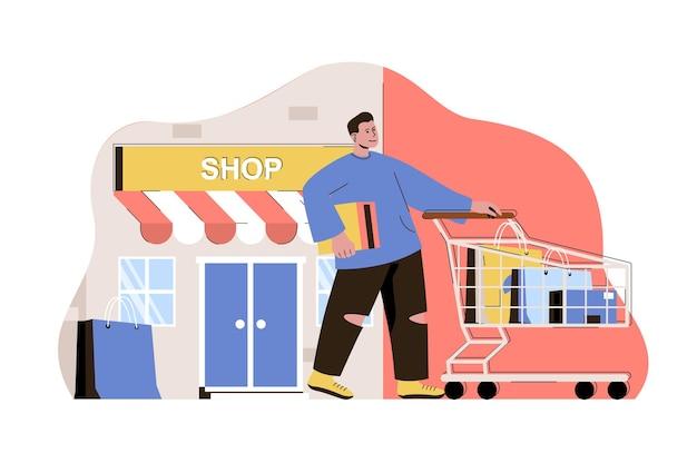 Shopping e concetto di vacanza uomo che fa shopping nel negozio in viaggio