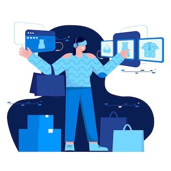 Shopping con illustrazione piatta vr