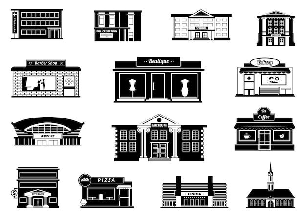 Negozi, mercati e altri edifici comunali. illustrazioni urbane monocromatiche. negozio di costruzione e mercato, negozio e panetteria