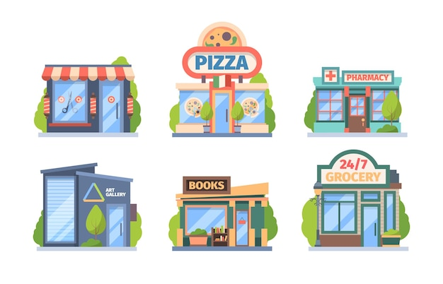 Set di negozi e negozi