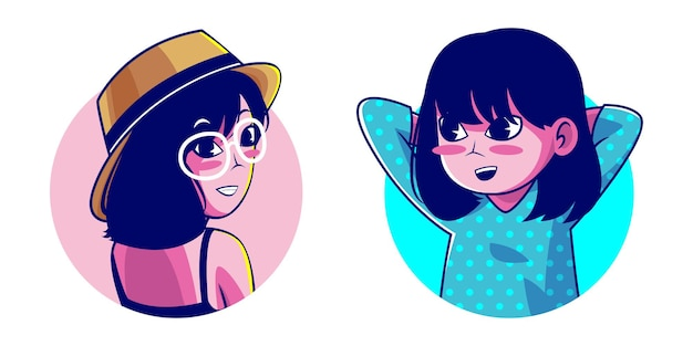 Personaggio dei cartoni animati di ragazza capelli corti
