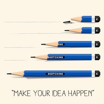 Set di matite corte e lunghe.
