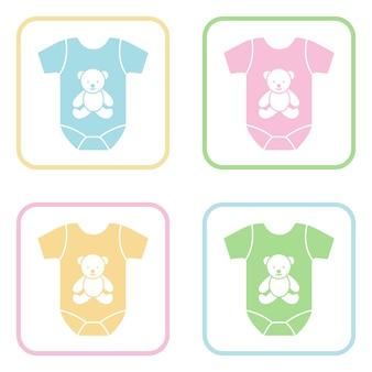 Icone colorate di vettore di body a maniche corte sui pulsanti