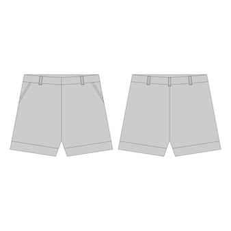 Pantaloni corti nei colori grigi per le ragazze isolate. schizzo tecnico abbigliamento sportivo abbigliamento per bambini ..