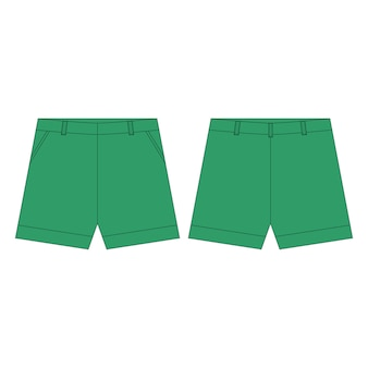 Pantaloni corti nei colori verdi per le ragazze isolate. schizzo tecnico abbigliamento per bambini.