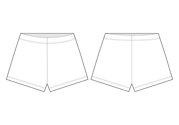 Shorts disegno tecnico. pantaloni corti unisex con profili.