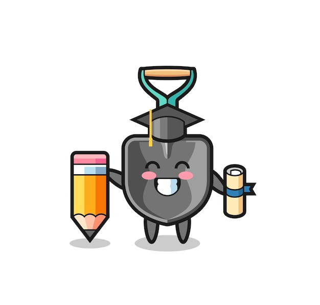 Il fumetto dell'illustrazione della pala è la laurea con una matita gigante, un design carino