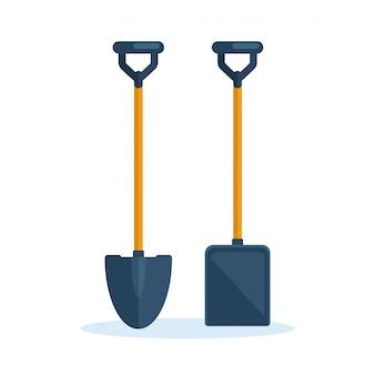 Pala, vanga sullo sfondo. attrezzi da giardino, elemento di scavo, attrezzature per fattoria. lavoro primaverile. cartone animato