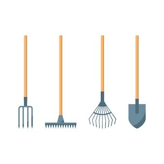 Icone di pala o vanga, rastrello e forcone isolate su priorità bassa bianca.