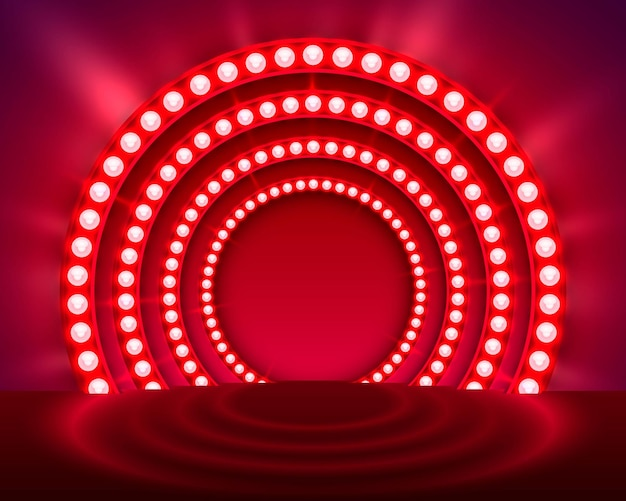 Mostra sfondo rosso podio chiaro. illustrazione vettoriale