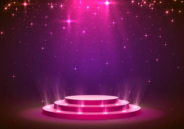 Mostra lo sfondo delle stelle del podio leggero. illustrazione vettoriale