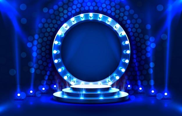 Mostra la scena del podio del palco leggero con per la cerimonia di premiazione su sfondo blu vettore