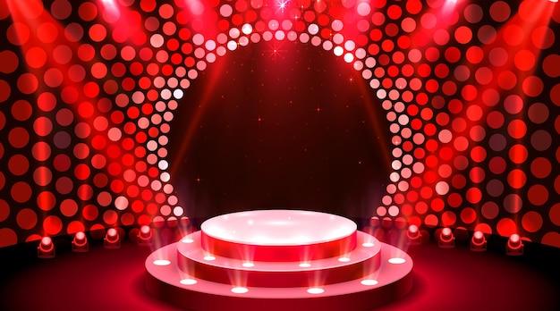 Mostra la scena del podio del palco leggero con per la cerimonia di premiazione su sfondo blu