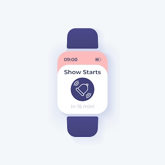 Mostra il modello di vettore dell'interfaccia dello smartwatch di avviso di avvio. design della modalità giorno di notifica dell'app mobile. schermata del messaggio di promemoria. interfaccia utente piatta per l'applicazione. campanello che suona sul display dell'orologio intelligente.