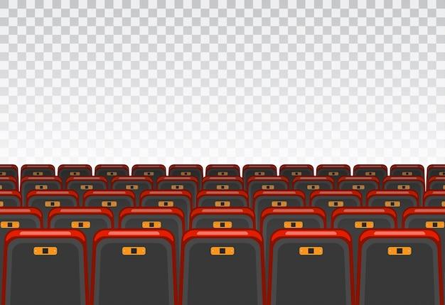 Mostra il concetto di tempo. sala cinema e teatro con poltrone e schermo trasparente.