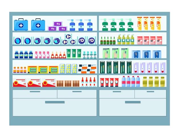 Una vetrina in una farmacia, scaffali con medicinali e dispositivi. vettore