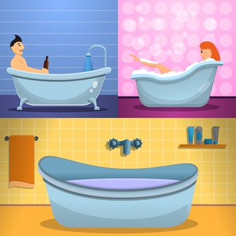 Set di banner doccia vasca, in stile cartone animato