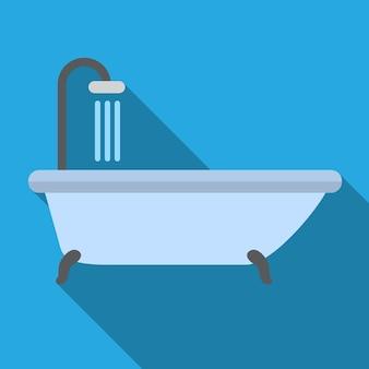 Simbolo del segno di vettore isolato dell'illustrazione piana dell'icona della doccia