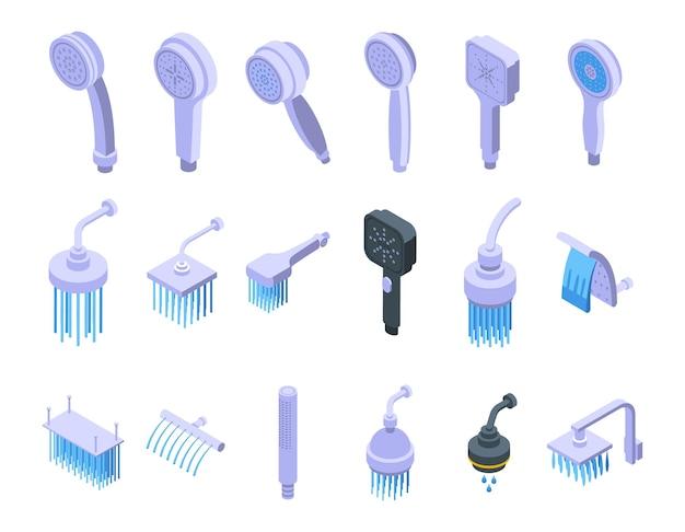 Soffioni doccia set di icone vettore isometrico. bagno con acqua