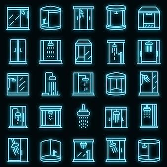 Set di icone di box doccia neon vettoriale