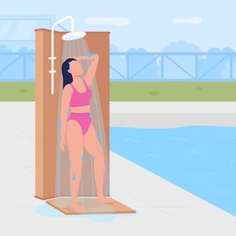 Fare la doccia prima di nuotare in piano. rimozione di crema solare e sudore con acqua. ragazza che fa la doccia personaggio senza volto dei cartoni animati 2d con piscina