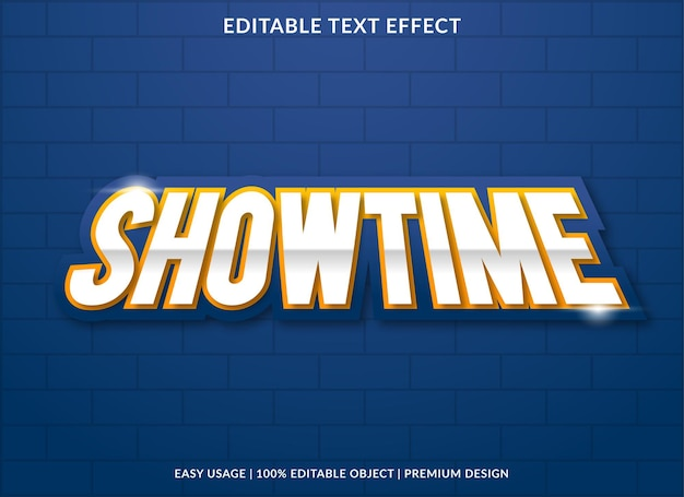 Modello di effetto testo showtime con stile audace