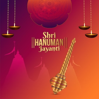 Cartolina d'auguri di celebrazione di shri hanuman jayanti con l'arma del signore hanuman
