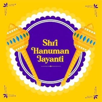 Modello di banner del festival di shri hanuman jayanti