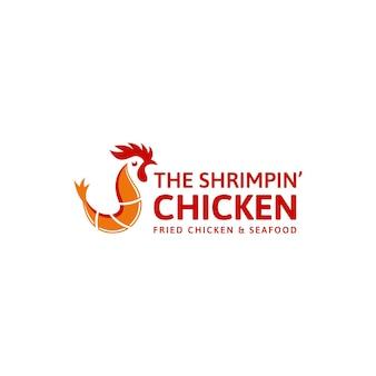 Illustrazione del logo di gamberi e pollo