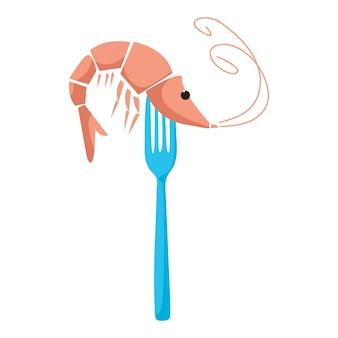 Gamberetti su una forchetta. logo cafe con frutti di mare. illustrazione vettoriale di uno stile piatto.
