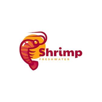 Logo di stile mascotte semplice gamberetti
