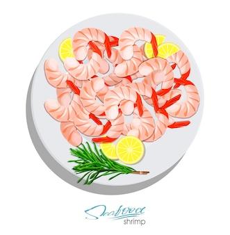 Gamberetti con rosmarino e limone sul piatto illustrazione vettoriale in stile cartone animato